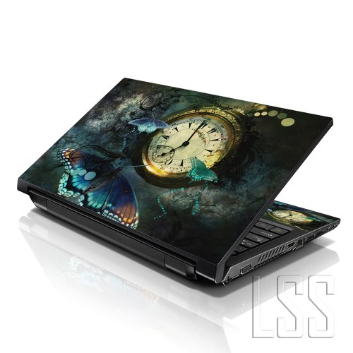 LSS 15 15.6 inch Laptop Notebook Skin Sticker Cover Art Decal Fits 13.3' 14' 15.6' 16' HP Dell Lenovo Apple Asus Acer Compaq (Free 2 Wrist Pad Included) Clock Butterfly