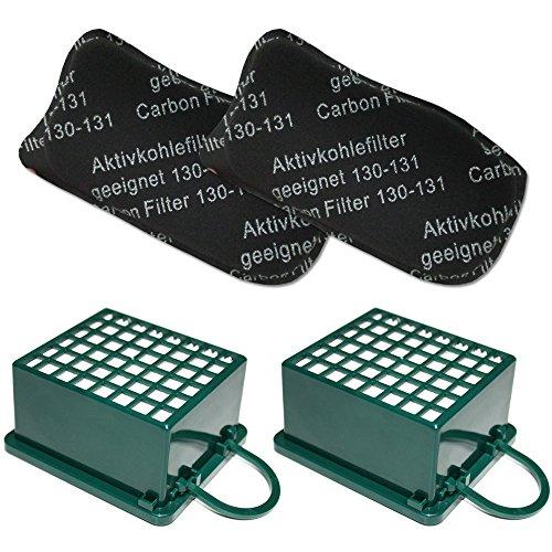 MohMus Filterset 2X HEPA Filter + 2X Kohlefilter geeignet Für Vorwerk Kobold VK 130, 131, VK130, VK131 SC