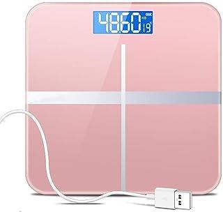 ZfgG Báscula de Peso electrónica Báscula de Salud casera precisa, Báscula de pérdida de Peso para Adultos Báscula de Vidrio Templado, USB de Carga, Pantalla LCD Digital, Oro Rosa