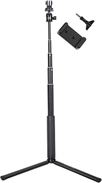 Smatree SQ2 Palo Selfie Extendable Stick/Monopod con Trípode para GoPro Hero 2018 Hero 8/7/6/5/4/3+/3/2/1/Fusion/Session/Ricoh Theta S/VM15Osmo Action Cámaras y Teléfonos Celulares