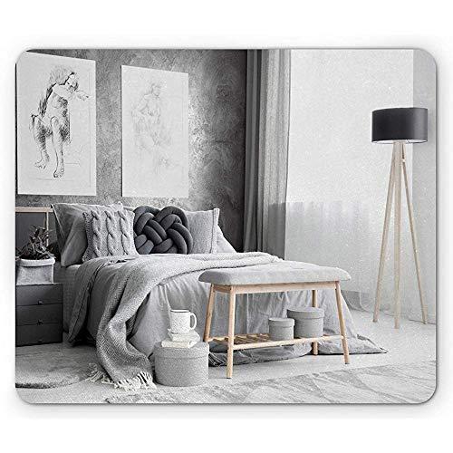 Houtskoolgrijze muismat, moderne en Simplistische Slaapkamer Scene Behang Lamp Bed, Rechthoek Antislip Rubber Mousepad, Wit