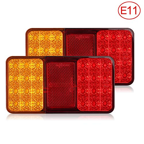 EyPiNS 2x Universal Rücklichter, Rückleuchten Rücklicht Bremslicht Anhängerbeleuchtung Kennzeichenbeleuchtung 24 LED IP65 für 12V Anhänger KFZ LKW Trailer Caravan Wohnwagen Boot Vans (E-Mark E11)