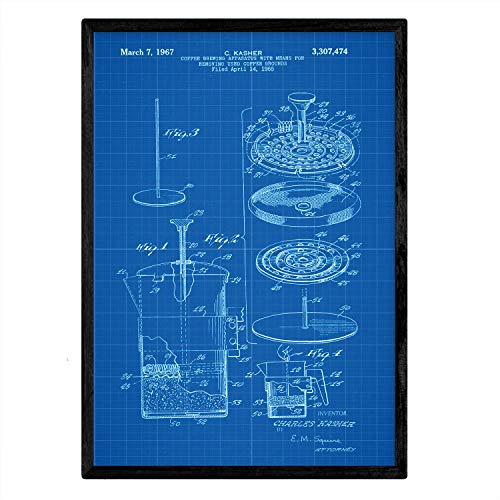 Nacnic Poster con Patente de Cafetera 3. Lámina con diseño