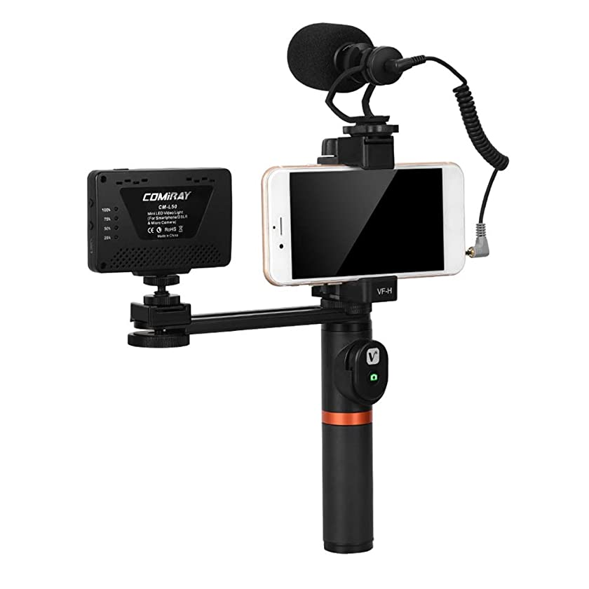 TPOTOO ViewFlex VF-H6 Smartphone Video Rig Hand Grip Handle Stabilizer Kit with Remote Control/LED Light/Video Microphone for iPhone 6 6s Plus for Samsung Galaxy S8+ S8 Note 3 Huawei