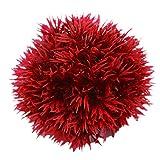 Amesii Acuario Bola de Hierba Artificial Redonda Plástico Verde Planta Acuario Pecera Decoración - Rojo S