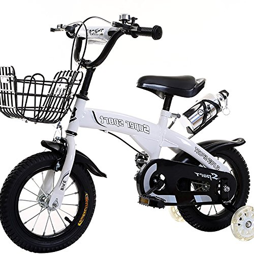 Z&D Kids Bikes,High Carbon Steel Frame Bicycle With Flash Stabilisers Wheels And Bottle Holder,Sizes 12'',14'',16'',18,For 3-9Years Old,Send Pump,Installation Tool,Bell,Knee/Elbow Pads,White,16''