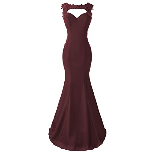 a5c687bce37 Topdress Women s Mermaid Prom Dress Lace Appliques Sheer Back Evening Gowns