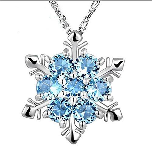 Vrouwen natuursteen ketting Crystal sneeuwvlok hanger, legering sneeuwvlok verzilveren Sneeuwvlok stijl hanger