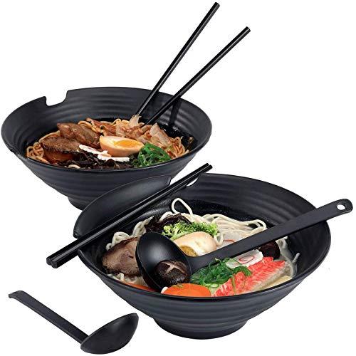 Lanbent Japanische Ramenschale, 2 Sets 1000ml Ramen Schüssel, Kommt Mit Stäbchen Und Löffel Suppenschalen, Dishwasher Safe, Für Udon Soba Pho Asiatische Nudeln