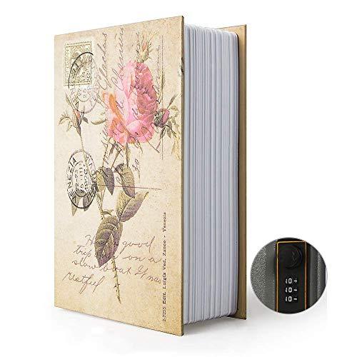 Ablagebuch Safe Aufbewahrungsbox Wörterbuch geheime Safe Dose mit Sicherheit Zahlenschloss/Schlüssel Umleitungsbuch versteckter Safe (Passwortsperre, Rose)
