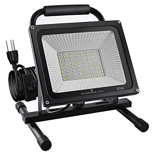 GLORIOUS-LITE 50W LED Work Light, 5000LM Super Bright Flood Lights, 400W Equivalent, IP66...