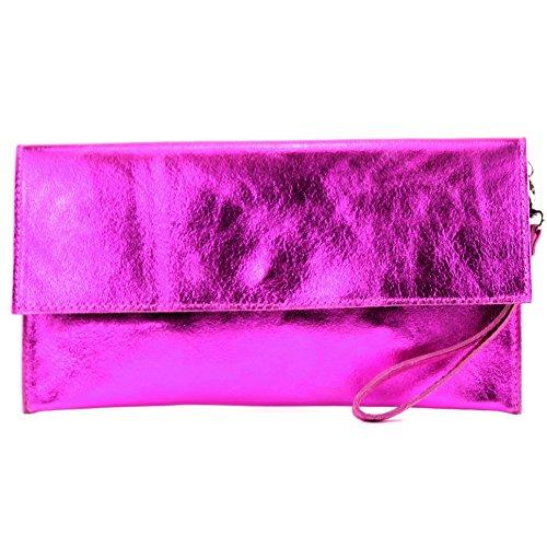 Modamoda De- Ital. Borsa In Pelle Clutch Underarm Bag Borsa Da Sera In Pelle Metallizzata M106-151, Colore:M151 Rosa Metallizzato
