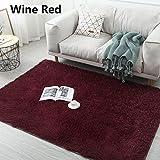 WMNU Alfombra Moderna Grande y pequeña Shaggy Sala de Estar Dormitorio Alfombras Shaggy en 5 Colores Diferentes y 16 tamaños Diferentes Vino tinto80x160cm