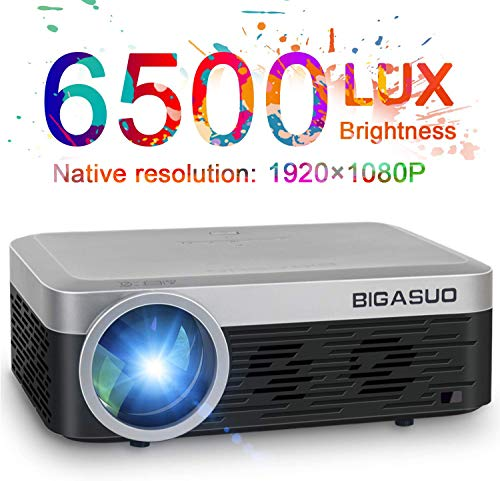 Native 1080P Projector, Bigasuo 6500 Lumen Full HD Video Projector with 8000:1 Contrast 250'' Display, Home Theater Video Projector Support HDMI/USB/Micro SD/VGA/TV Stick/PC/PS4/XBOX