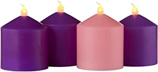Mini Flameless Advent Tabletop Candles Unscented LED Short Pillar Candle Set, Centerpiece Wreath Accessories Home Decor or...