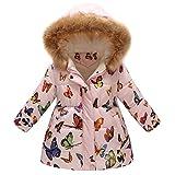 Susenstone Unisexe Manteau A Capuche Col Fourrure Long Coat Mignon Mode A Fleurs Imprimé Hiver Chaud éPais pour Les Filles Garcons Blouson 3-7 Ans (4-5 Ans(Taille:130CM), Rose)