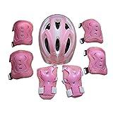 全方位ガード 自転車 ヘルメット こども用 キッズプロテクターセット 4-16歳向け 調節可能 軽量 高剛性 通気性 サイクリング スケートボード ローラースケート 保護用 子供 自転車 プロテクター (A-ピンク, 4-16歳)