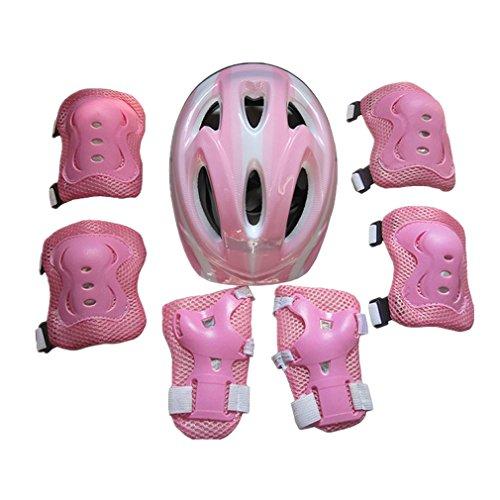 MINASAN 7Pcs Pink Kinder Protektoren Set, Schoner Set Knieschoner Schutzausrüstung Helm Handgelenkschoner für Kinder Skateboard Inline Roller Skate (B, Meine Knieschützer)