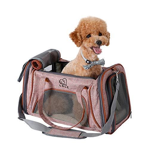 Louvra Hund Tragetasche Katze Transsporttasche Soft Haustier Träger mit Fleece-Pad Metall Sicherheitsverschluss aus Flachs Nylon für Katzen Klein Welpen (rosa, S2)