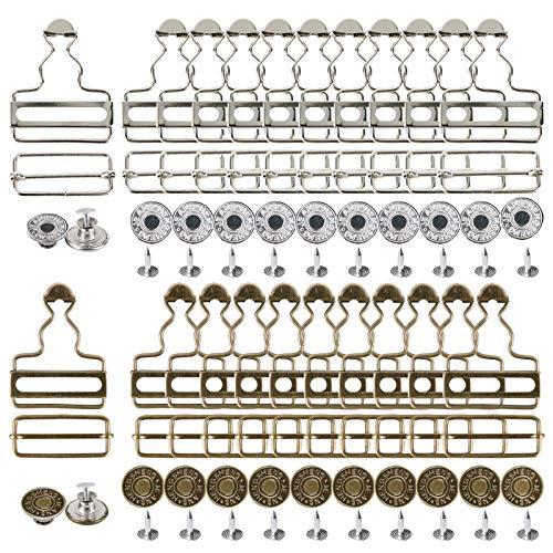 UFLF 40 Set Latzhose Schnallen Metall Hosenträger Schnallen Verschluss Metallknöpfe für DIY Hosenträger Jeans Kleidung Zubehör, Silber und Messing 3.8cm