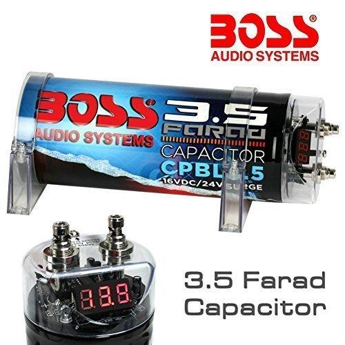 CONDENSATORE CAR AUDIO BOSS 3,5 FARAD CPBL3.5 BLU X IMPIANTI FINO A 3500 RMS 1 2 3 4 5 10 CAPACITOR CON ACCENSIONE CAVO REMOTE