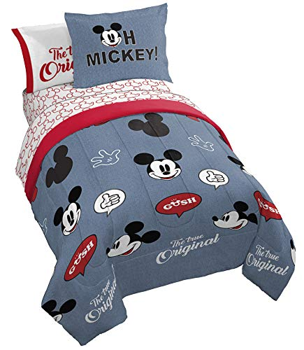 Jay Franco Disney Mickey Mouse Patches 7 Piece Full Bed Set - Includes Comforter \& Sheet Set Bedding - Super Soft Fade Resistant Microfiber - (Official Disney Product)