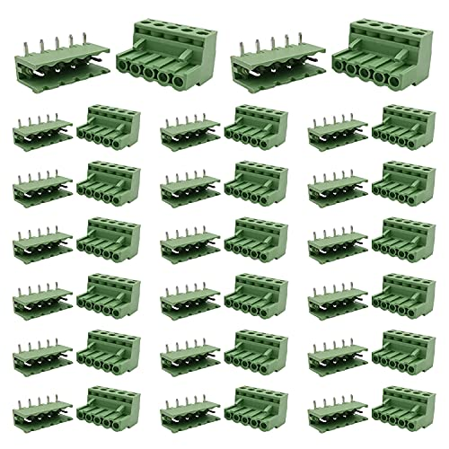 Cermant 20 Set 5 Pin 5.08mm (0.2inch) Pitch Pluggable Male Female PCB Angle Screw Terminal Block Plug Connector Panel Mount DIY (5.08mm-5P-20Set)