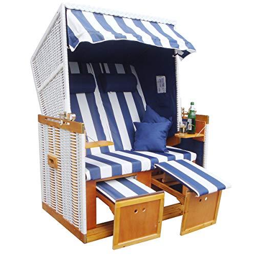 BRAST Strandkorb Nordsee XXL Volllieger Blau Weiß gestreift incl. Schutzhülle 2 Sitzer 120cm breit Gartenliege Sonneninsel Poly-Rattan - 6