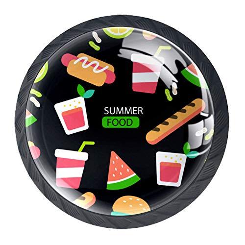 Bunte Schubladengriffe mit Sommer-Lebensmittel-Muster, für Schrank, Frisiertisch, Kommode, mit Schrauben, 4 Stück