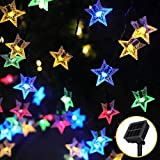 Tasodin 20 FT 60 LED Solar Star String Lights, Waterproof Solar Powered Star Lights with 8 Modes Solar Panels, Star Twinkle Lights for Outdoor, Christmas, Playhouse, Bedroom Decoration, Multi Color
