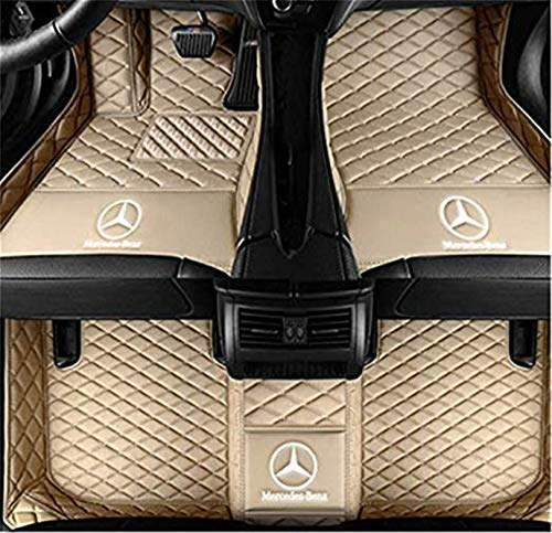 YANGcar Custom Fit XPE Leather 3D Full Surrounded Waterproof Car Floor Mats for Mercedes-Benz S Class S280 S300 S320 S400 S500 S550 S680 2010-2013 car Floor mat with Logo (Beige)