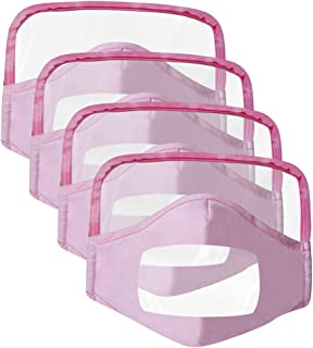 4Pcs Reusable and Breathable, Washable, Face Bandanas with Eyes Shield (PVC) with Clear Window, Visible Expression, Full Protection, for Kids, Also for Deaf and Hard of Hearing People