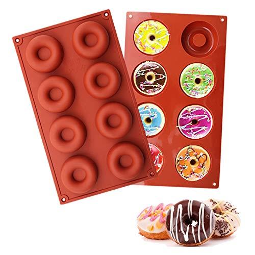 Silicone donut stampi,waffle silicone stampi per ciambelle per creare ciambelle,muffin, cupcake,bagel,stampi in silicone,stampo per ciambelle in silicone antiaderente(rosso)