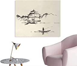 Tudouhoho Ancient China Poster Print Sketch Art of Oriental Landscape with Pagoda Fishing Man and Mountain Wall Sticker Decals Beige Dark Brown W32 xL24