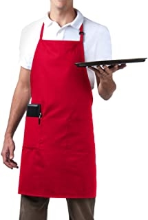 MHF Aprons Bib Aprons 1 Piece-New Spun Poly-Commercial Restaurant Kitchen- Adjustable-Full Length-3 Pockets (Red)