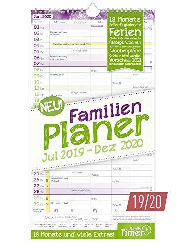 FamilienPlaner 2019/2020 mit 5 Spalten, 23 x 42 cm | Wandkalender für 18 Monate: Juli 2019 - Dezember 2020 | Familienkalender Wandplaner: Ferientermine, viele Zusatzinfos + Vorschau bis März 2021