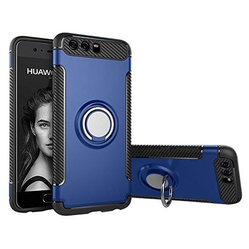 BLUGUL Funda Huawei P10, Soporte Giratorio del Anillo de 360 Grados, Compatible con Soporte Coche Magnético, Case Cover para Huawei P10 Azul
