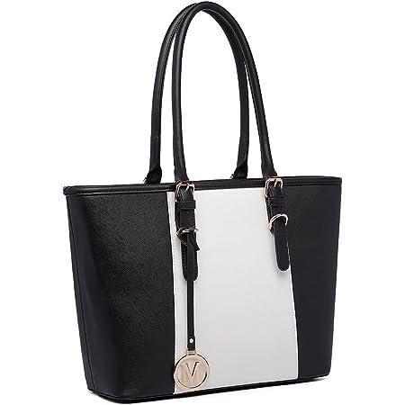 Miss Lulu Damen Handtasche Damen Designer Promi-Stil Schulter Shopper Tasche mit Verstellbarem Griff, Schwarz, L