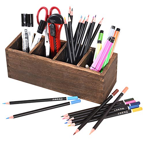 Pencil Holder for Desk, Wood Pen Pencil Organizer Storage with 4 Adjustable Compartments, Home Office Use Pencil Cup Pot
