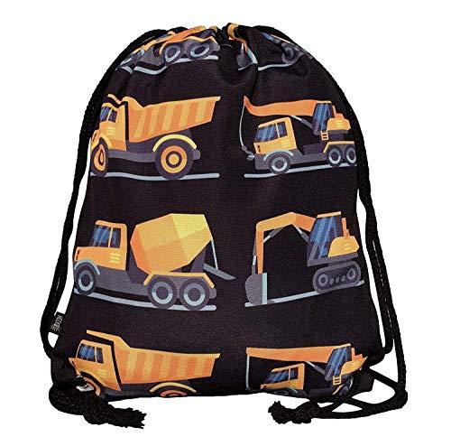 HECKBO Mochila niños, jóvenes | Negra, Estampada con 8 vehículos de construcción | para el jardín de Infancia, la guardería, Viajes y Deporte | Mochila, Bolsa de Juguetes, Bolsa de Deportes