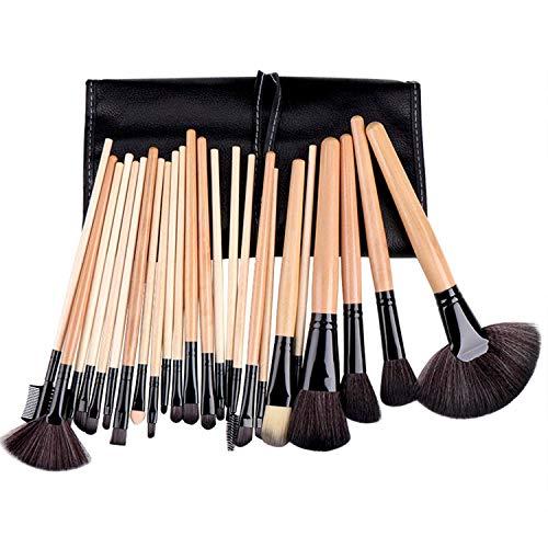 JFFFFWI Ensemble de pinceaux de Maquillage Professionnel de 24 pièces avec boîte de Rangement pour maquilleur et Novice Kabuki - Pinceau Doux pour Les lèvres des Sourcils (Couleur: Brun)