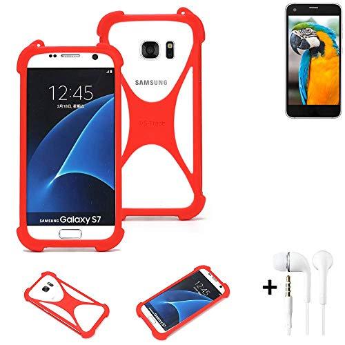 K-S-Trade® Handyhülle + Kopfhörer Für Vestel V3 5040 Schutzhülle Bumper Silikon Schutz Hülle Cover Case Silikoncase Silikonbumper TPU Softcase Smartphone, Rot (1x),