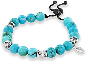 Believe London Turquoise Stone Bracelet in Gift Box | Strong Elastic | Healing Men Women Luxury Stretch Precious Natural Crystal Stones Healing Gemstone Therapy Yoga Mala Bangle