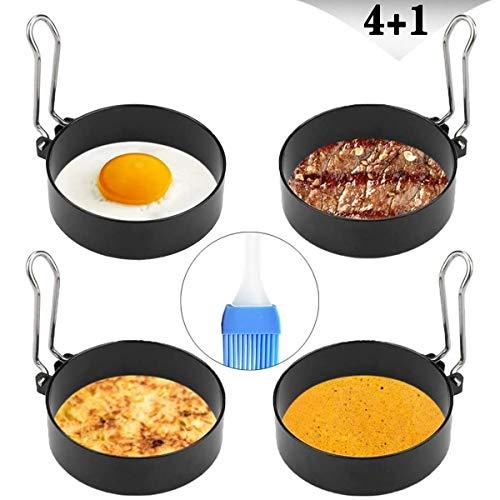 YAOYIN Ei Ring Spiegeleiform für Bratpfanne, 4 Stück 7cm Edelstahl Pancake Form Pfanne Eierform zum Kochen von Spiegelei/Pfannkuchen/Omeletts und mehr, Antihaftbeschichtung (Ölflaschenbürste Enthält)