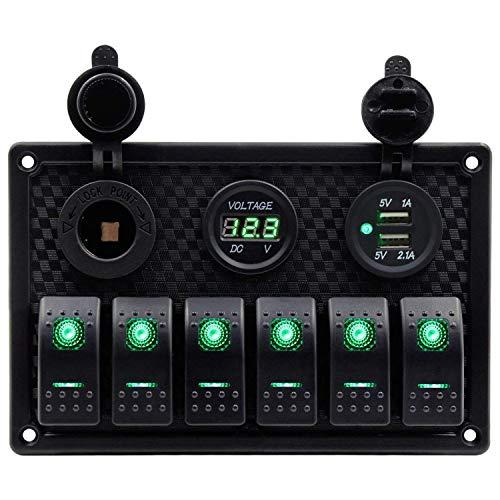 Notewisher Panel de Interruptor Basculante de Barco Marino Impermeable de 6 Bandas con RetroiluminacióN LED Verde para Coche, SUV, VehíCulo Marino, CamióN, Caravana, Barco