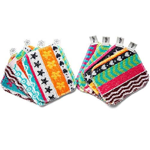 Skoy Scheuerschrubben, nicht kratzend, wiederverwendbar, für Küche und Haushalt, umweltfreundlich, spülmaschinenfest, plastikfreie Verpackung, 8 Stück, verschiedene Farben