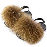 COOLSA Girl's Fluffy Fur Sandals Toddler Fur Slides with Strap Kids Stylish Furry Slippers Children's Open Toe Flat PVC Soles Fuzzy Shoes Indoor Outdoor