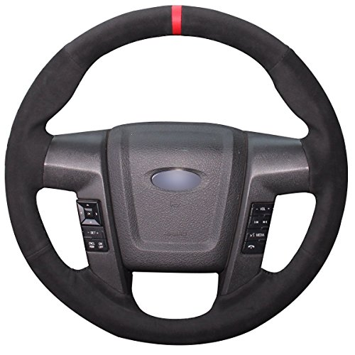 Loncky Black Suede Steering Wheel Cover for Ford F-150 F150 SVT Raptor 2010 2011 2012 2013 2014 Accessories