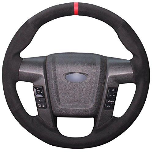 Loncky Black Suede Steering Wheel Cover for Ford F-150 F150 SVT Raptor 2010 2011...