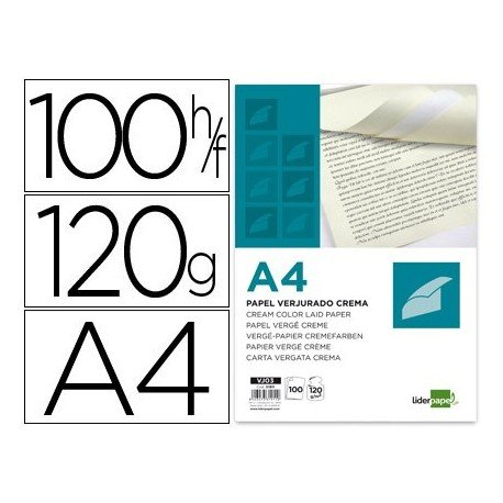 Liderpapel Papel Verjurado A4 120 g/m² Crema Paquete De 100